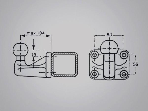 Kugelkopf mit Anschraubplatte, kurz, 24,8 kN D-Wert