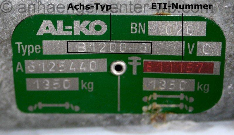 ALK0 - Typenschild der Auflaufeinrichtung