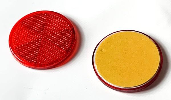 Rückstrahler rund, rot, selbstklebend